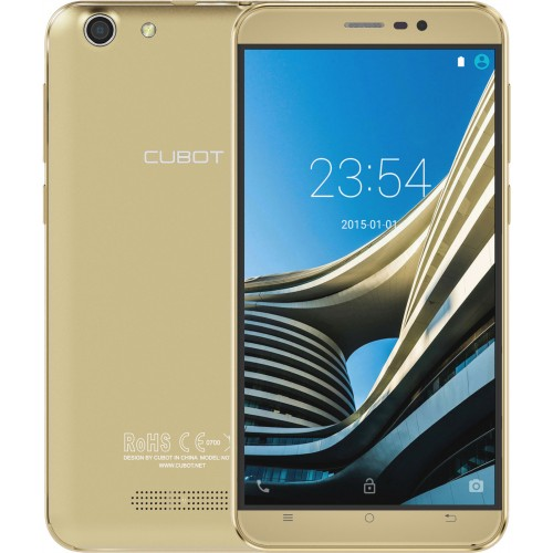 SmartPhone - SmartPhone CUBOT NoteS, Dual SIM 3G, 5.5 inch HD IPS, 4Core, 2+16GB, Android 6.0, Auriu (include Husa Transparenta)