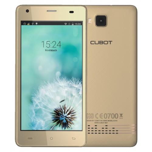 SmartPhone - Telefon Mobil CUBOT ECHO, Dual SIM 3G, 5 HD IPS (Incasabil), 4Core 1.3 GHz, 2GB + 16GB, Camera 13 MPx, Audio si Boxe KTS, Android 6.0, LED Notificare (Albastru), Certificat GMS, Auriu +BONUS: Husa Silicon si Folie Plastic