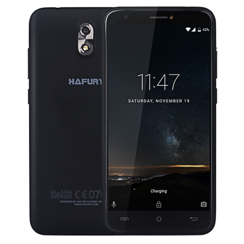 SmartPhone - Telefon Mobil Hafury MIX, 5 HD IPS, 2+16GB, 13 MPx, Android 7.0, Negru (include Husa si Folie)