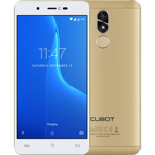 SmartPhone - Telefon Mobil Cubot R9, Dual SIM 3G, 5.0 inch HD, Quad-Core, 2GB + 16GB, Camera 13 MPx, Camera Frontala cu Blit, LED Notificare (Rosu), Touch ID, Android 7.0, Auriu
