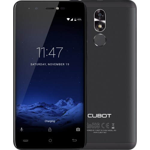 SmartPhone - Telefon Mobil Cubot R9, Dual SIM 3G, 5.0 inch HD, Quad-Core, 2GB + 16GB, Camera 13 MPx, Camera Frontala cu Blit, LED Notificare (Rosu), Touch ID, Android 7.0, Negru